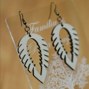 Wooden natural leaf/feather style earrings